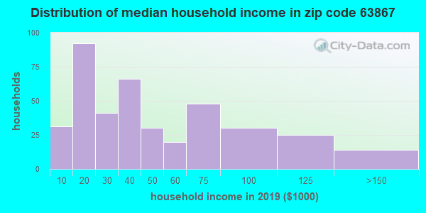 Zip code 63867 household income distribution in 2009