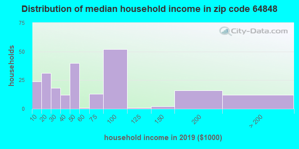 Zip code 64848 household income distribution in 2009