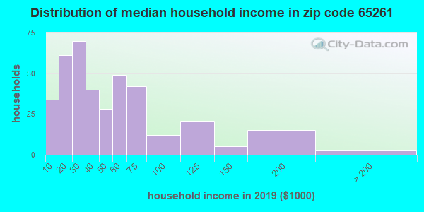 Zip code 65261 household income distribution in 2009
