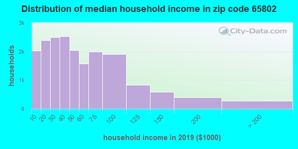 Zip code 65802 household income distribution in 2009