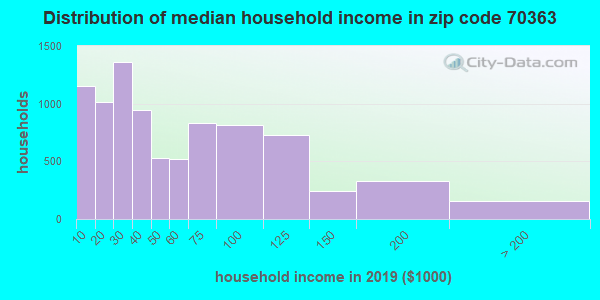 Zip code 70363 household income distribution in 2009