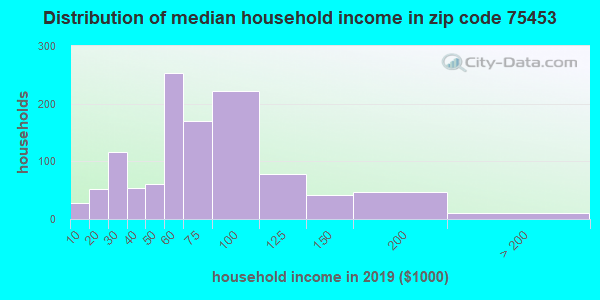 Zip code 75453 household income distribution in 2009