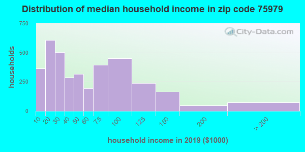 Zip code 75979 household income distribution in 2009