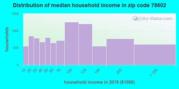 Zip code 78602 household income distribution in 2009