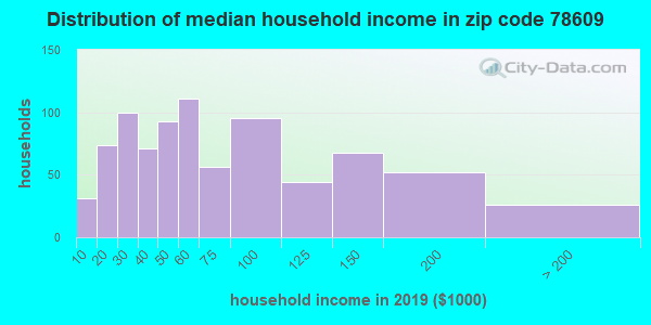 Zip code 78609 household income distribution in 2009