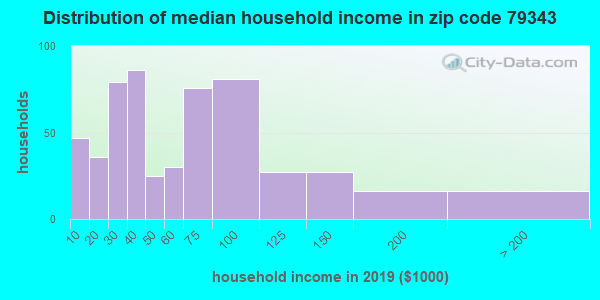 Zip code 79343 household income distribution in 2009