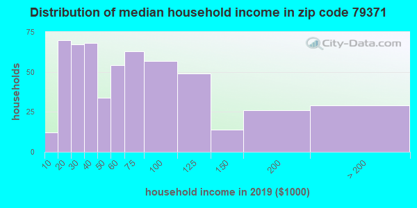 Zip code 79371 household income distribution in 2009