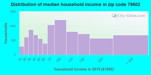 Zip code 79602 household income distribution in 2009