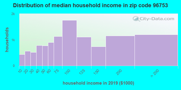 Zip code 96753 household income distribution in 2009