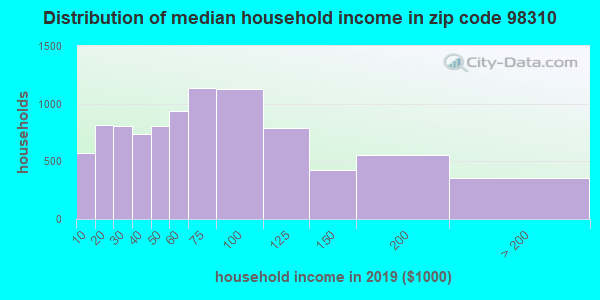 Zip code 98310 household income distribution in 2009