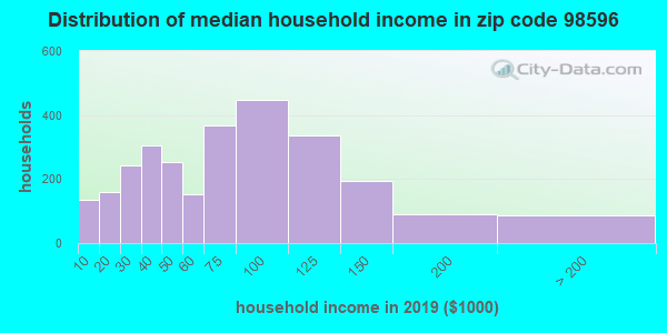 Zip code 98596 household income distribution in 2013