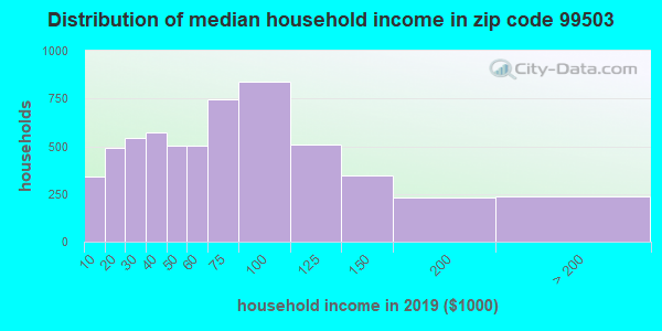 Zip code 99503 household income distribution in 2009