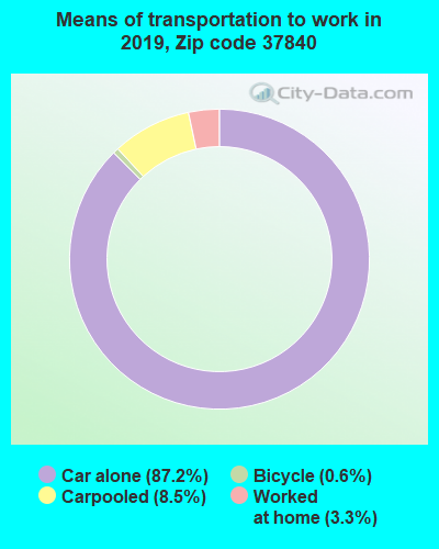 37840 zip code mode of transportation to work chart