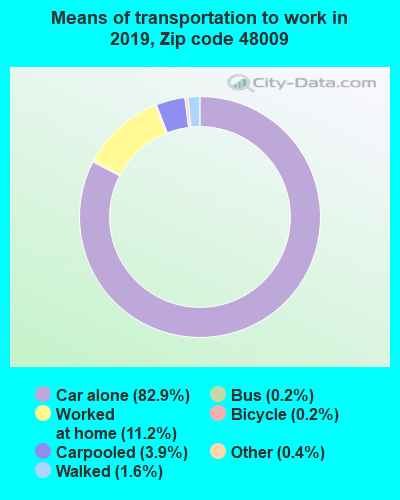 48009 zip code mode of transportation to work chart