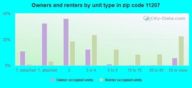Owners and renters by unit type in zip code 11207