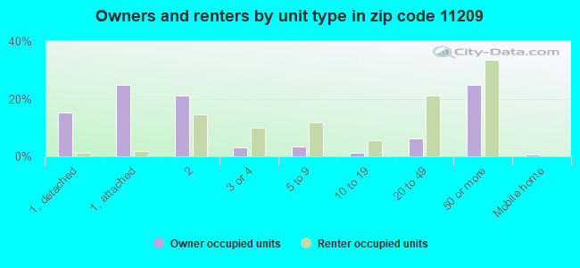 Owners and renters by unit type in zip code 11209