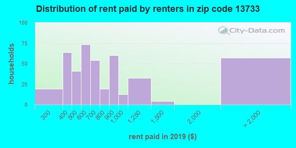 Rent paid by renters in 2013 in zip code 13733