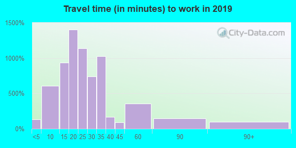 Travel time to work (commute) in zip code 06117