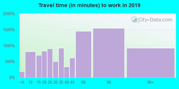 Travel time to work (commute) in zip code 07871