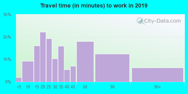 Travel time to work (commute) in zip code 08003