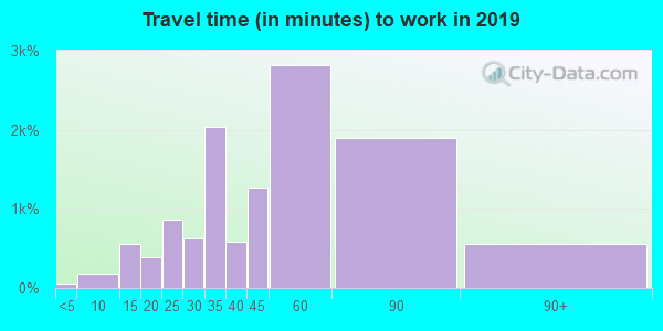 Travel time to work (commute) in zip code 10039