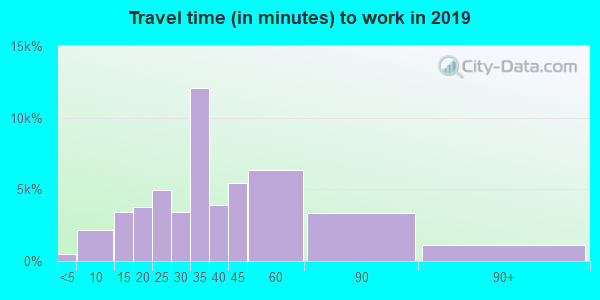 Travel time to work (commute) in zip code 11211