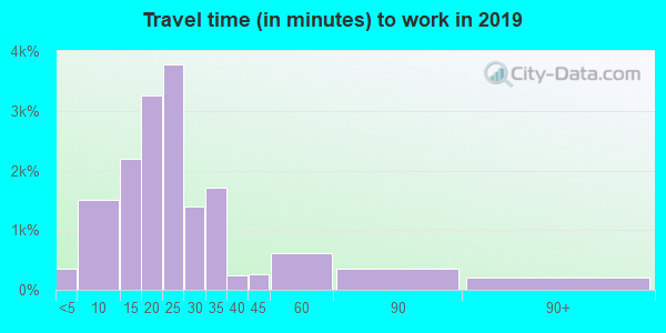 Travel time to work (commute) in zip code 13090