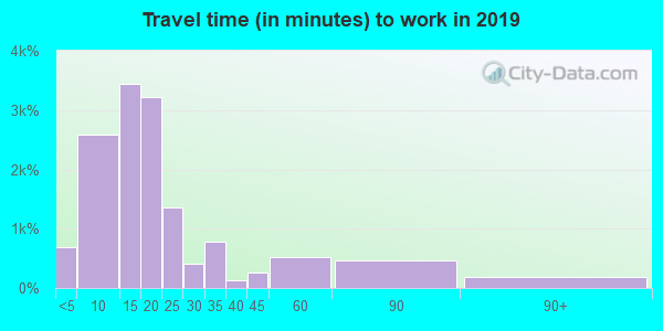 Travel time to work (commute) in zip code 13501