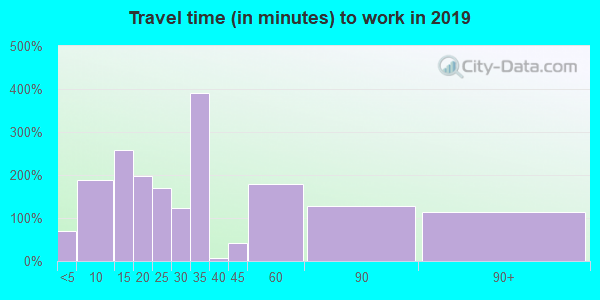 Travel time to work (commute) in zip code 13849