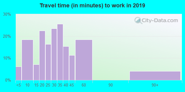Travel time to work (commute) in zip code 19559