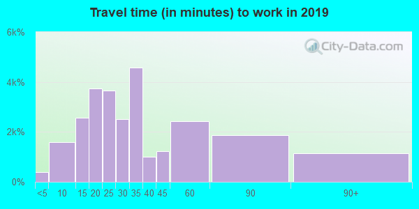Travel time to work (commute) in zip code 21224