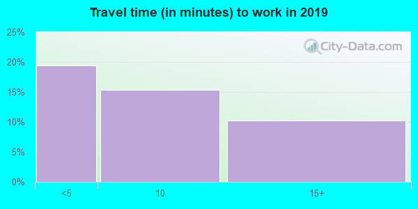 Travel time to work (commute) in zip code 24464