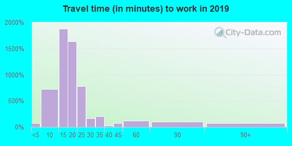 Travel time to work (commute) in zip code 25302