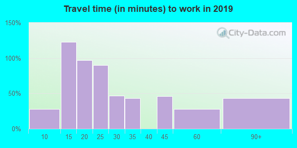 Travel time to work (commute) in zip code 26035