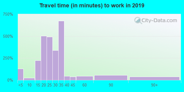 Travel time to work (commute) in zip code 26150