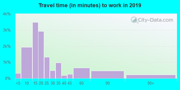 Travel time to work (commute) in zip code 27804