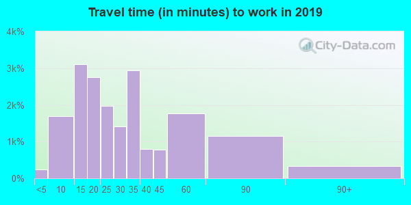 Travel time to work (commute) in zip code 28092