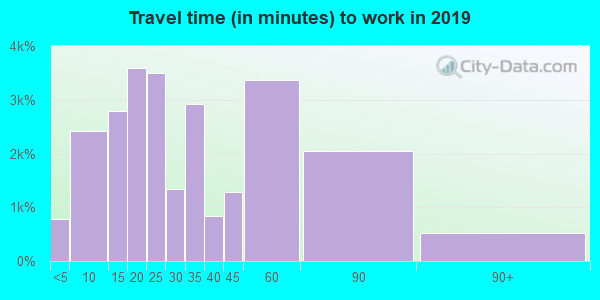 28110 zip code travel time to work (commute)