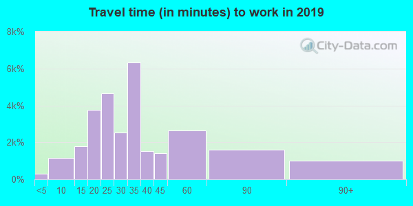 Travel time to work (commute) in zip code 28215