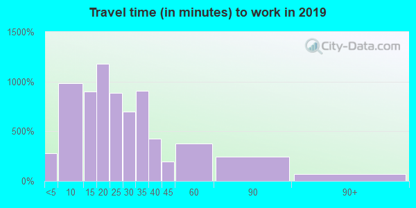 Travel time to work (commute) in zip code 29334