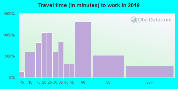 Travel time to work (commute) in zip code 29671