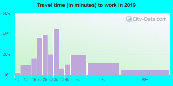 Travel time to work (commute) in zip code 30350