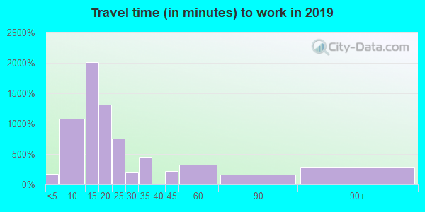 Travel time to work (commute) in zip code 30474