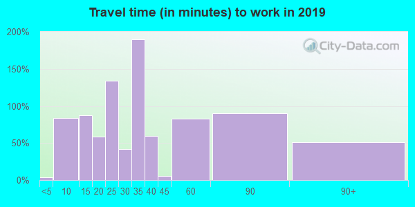 Travel time to work (commute) in zip code 30810
