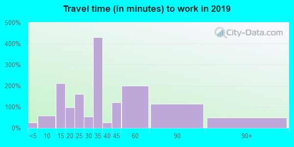 Travel time to work (commute) in zip code 32464