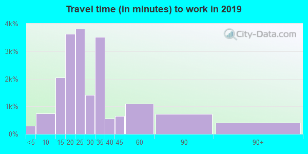 Travel time to work (commute) in zip code 33604