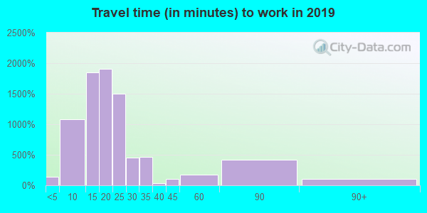 Travel time to work (commute) in zip code 35406