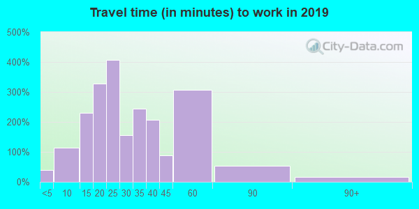 Travel time to work (commute) in zip code 37769
