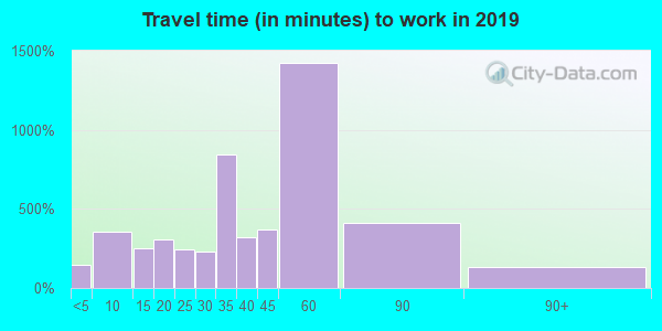 Travel time to work (commute) in zip code 38060