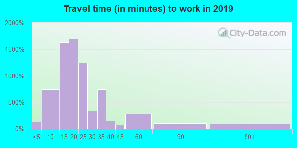 Travel time to work (commute) in zip code 38804